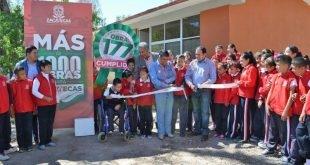 Más de Mil Obras para Zacatecas beneficia con aulas a alumnos que estudiaban a la intemperie en Cuauhtémoc