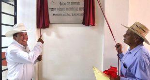 Inaugura David Monreal salón ejidal y sala de juntas Don Felipe Monreal Huerta en Miguel Auza