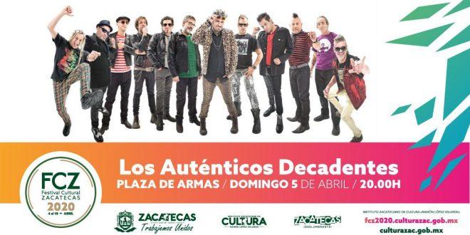 """""""Los Auténticos Decadentes"""" se presentarán en el Festival Cultural Zacatecas 2020"""
