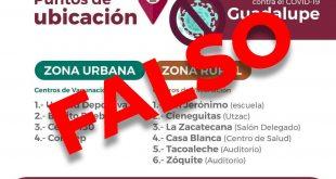 Falsa Información difundida sobre aplicación de vacuna contra Covid-19 en el Municipio de Guadalupe